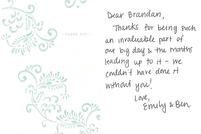 new client thank you card