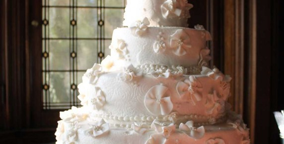 huge wedding cake white four layers